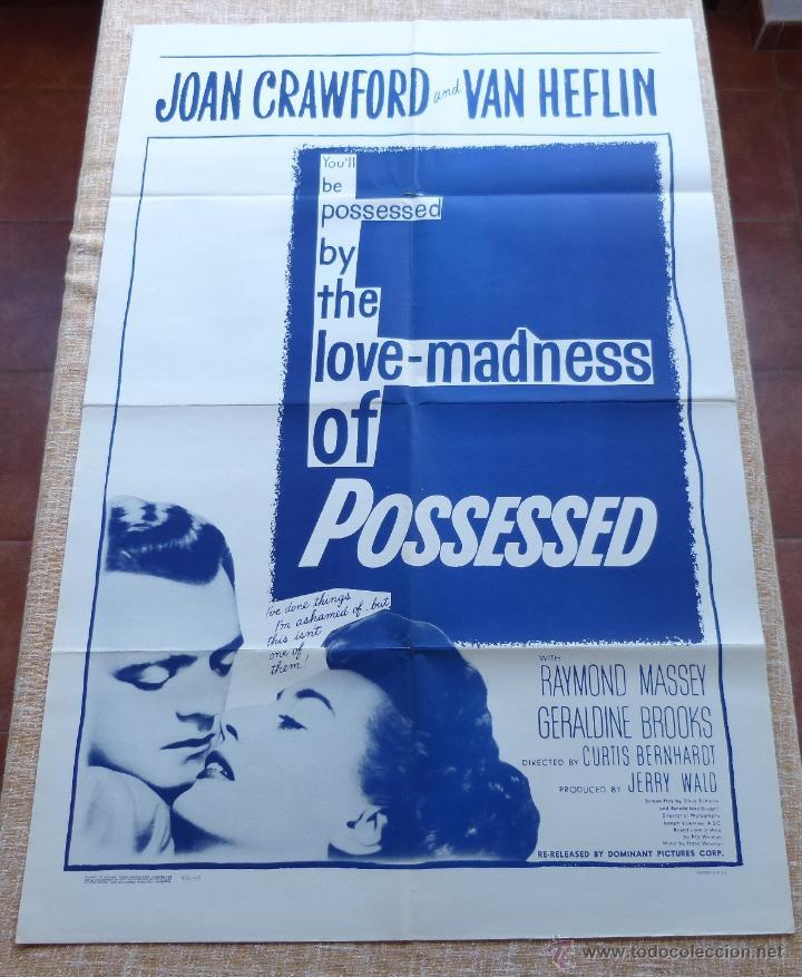 Cine: Possessed Póster original de la película, Doblado, Reproducción del año 1956, U.S.A., Póster usado - Foto 6 - 46796105