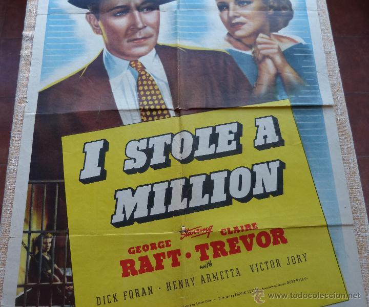 Cine: I Stole a Million Póster original de la película, Original, Doblado, año R1947, Hecho en USA, Usado - Foto 4 - 46797799