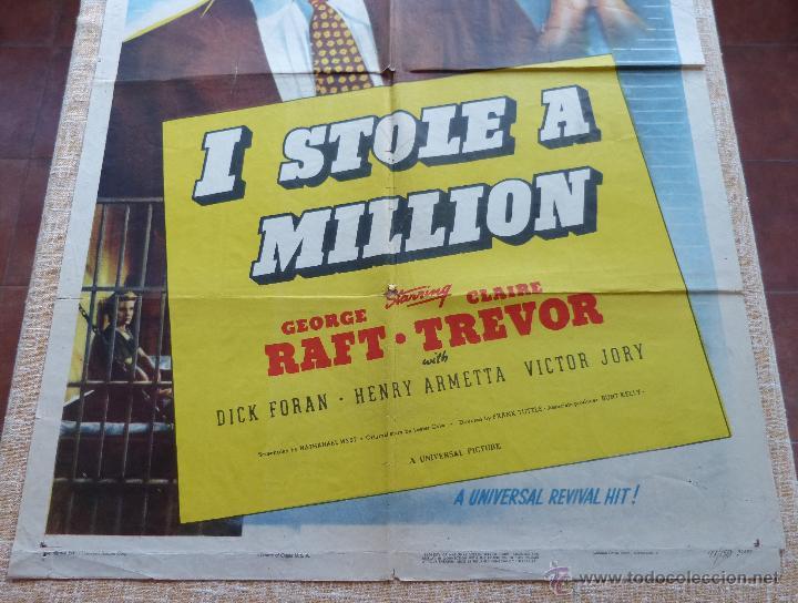 Cine: I Stole a Million Póster original de la película, Original, Doblado, año R1947, Hecho en USA, Usado - Foto 5 - 46797799