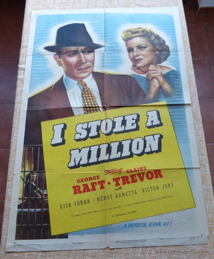 Cine: I Stole a Million Póster original de la película, Original, Doblado, año R1947, Hecho en USA, Usado - Foto 6 - 46797799