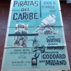 Cine: REAP THE WILD WIND (PIRATAS DEL CARIBE) PÓSTER ARGENTINO ORIGINAL DE LA PELÍCULA, DOBLADO, R1950S?. Lote 46835546