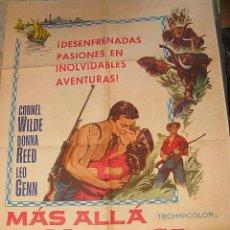 Cine: CARTEL ORIGINAL ESTADOS UNIDOS MÁS ALLÁ DE MOMBASA CORNEL WILDE DONNA REED 1956. Lote 47053399