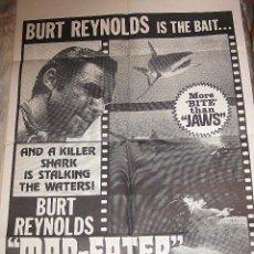Cine: BURT REYNOLDS CARTEL ORIGINAL ESTADOS UNIDOS MAN EATER TIBURÓN BIZARRO. Lote 47062426