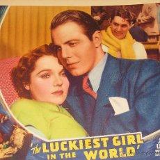 Cine: THE LUCKIEST GIRL IN THE WORLD LOBBY CARD ORIGINAL ESTADOS UNIDOS 1936 JANE WYATT LOUIS HAYWARD. Lote 47081989
