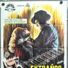 Cine: VN24D EXTRAÑOS EN UN TREN ALFRED HITCHCOCK YAÑEZ POSTER ORIGINAL 70X100 ESTRENO. Lote 47239464
