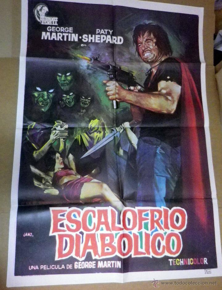 CARTEL, POSTER ORIGINAL, ESCALOFRIO DIABOLICO, DIR. MARTIN, ESPAÑA, POR JANO (Cine - Posters y Carteles - Terror)
