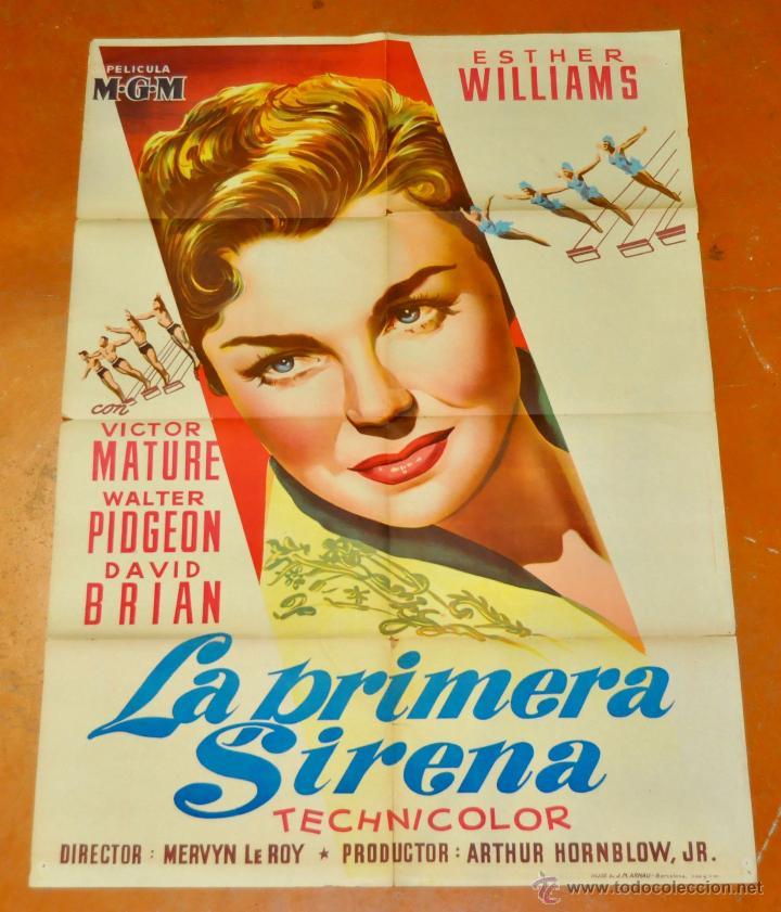 POSTER ORIGINAL, LA PRIMERA SIRENA ESTHER WILLIAMS VICTOR MATURE 70X100 (Cine - Posters y Carteles - Aventura)