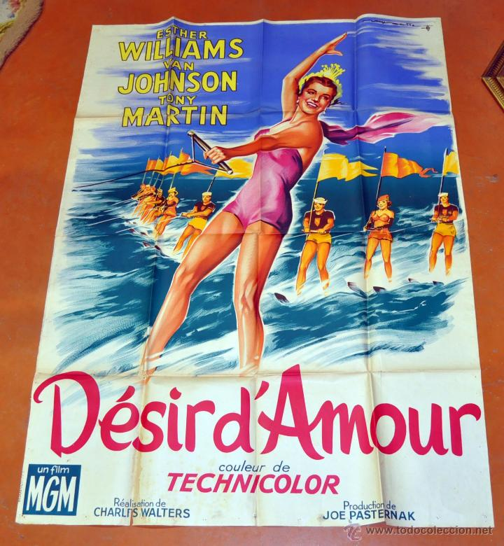 POSTER ORIGINAL DE 1959, DESIR D'AMOUR, ESTHER WILLIAMS Y JOHNSON TONY MARTIN (Cine - Posters y Carteles - Musicales)