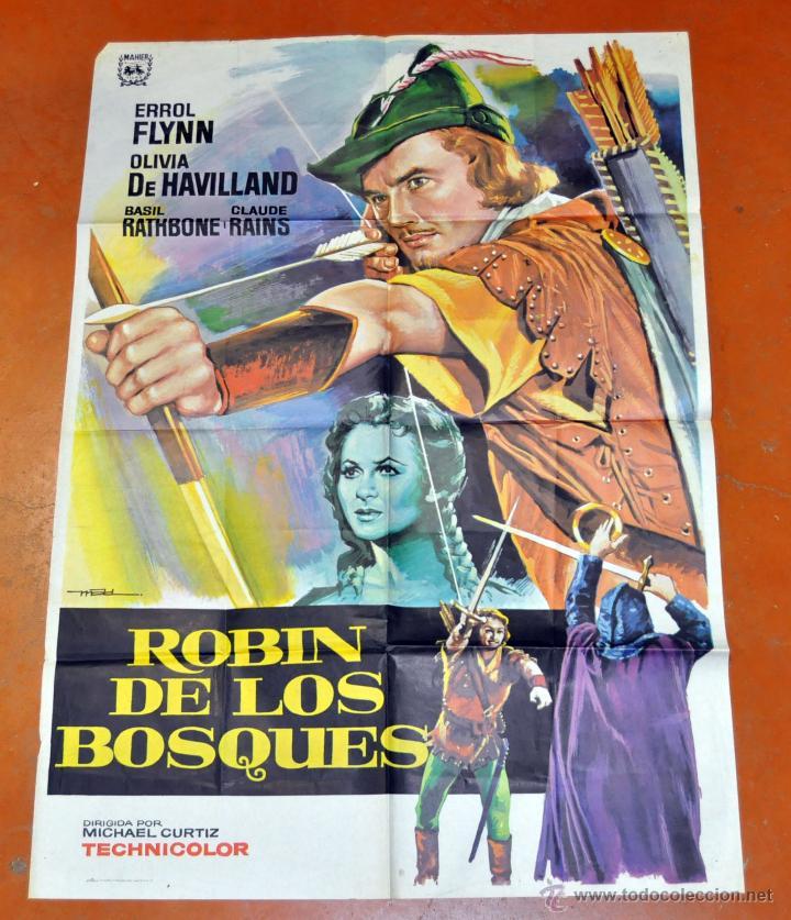 POSTER ORIGINAL, ROBIN DE LOS BOSQUES ERROL FLYNN OLIVIA DE HAVILLAND (Cine - Posters y Carteles - Aventura)