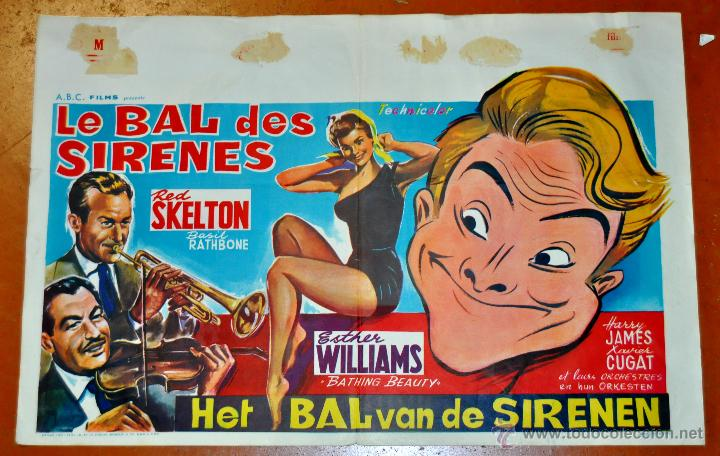 POSTER ORIGINAL, LE BAL DES SIRENES, ESTHER WILLIAMS Y RED SKELTON DEL AÑO 1944 (Cine - Posters y Carteles - Musicales)