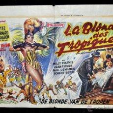 Cine: POSTER ORIGINAL DE 1957, LA BLONDE DES TROPIQUES, CELIA CORTEZ, ARMAND BERNARD, ETC. Lote 47595371