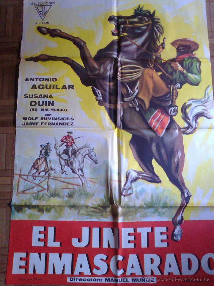 EL JINETE ENMASCARADO. POSTER ESTRENO 100X70. ANTONIO AGUILAR, SUSANA DUIN (Cine - Posters y Carteles - Westerns)