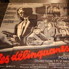 Cine: CARTEL DE CINE LES DELINQUANTS, EN FRANCÉS, 1950'S. 115X153 CM.. Lote 82698576