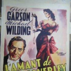 Cine: GREER GARSON CARTEL BELGA DE LA PELICULA L´AMANTE DE LADY LOVERLEY 34 X 46 CTMS.. Lote 48224758