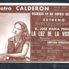 Cine: ANUNCIO TEATRO CALDERÓN * LA LUZ DE LA VISPERA * (1954) - AMPARO RIVELLES. Lote 22694092