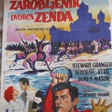 Cine: EL PRISIONERO DE ZENDA CARTEL ORIGINAL YUGOSLAVIA STEWART GRANGER DEBORAH KERR JAMES MASON. Lote 48316588