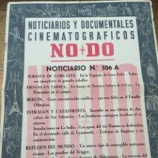Cine: CARTEL DEL NO - DO - NOTICIARIO Nº 506 A - FIESTAS EN TARIFA - SUBASTA DE CORCELES - TRAINERAS. Lote 48438286