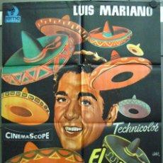 Cine: VS95 EL CANTOR DE MEXICO LUIS MARIANO POSTER ORIGINAL 70X100 ESPAÑOL. Lote 48499109