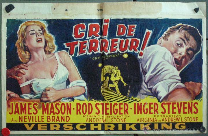 VT63 CRY TERROR FILM NOIR JAMES MASON ROD STEIGER INGER STEVENS POSTER ORIGINAL BELGA 35X55 (Cine- Posters y Carteles - Drama)