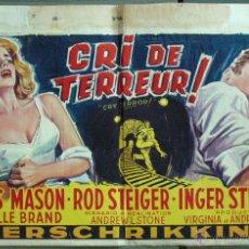 Cine: VT63 CRY TERROR FILM NOIR JAMES MASON ROD STEIGER INGER STEVENS POSTER ORIGINAL BELGA 35X55. Lote 48521723