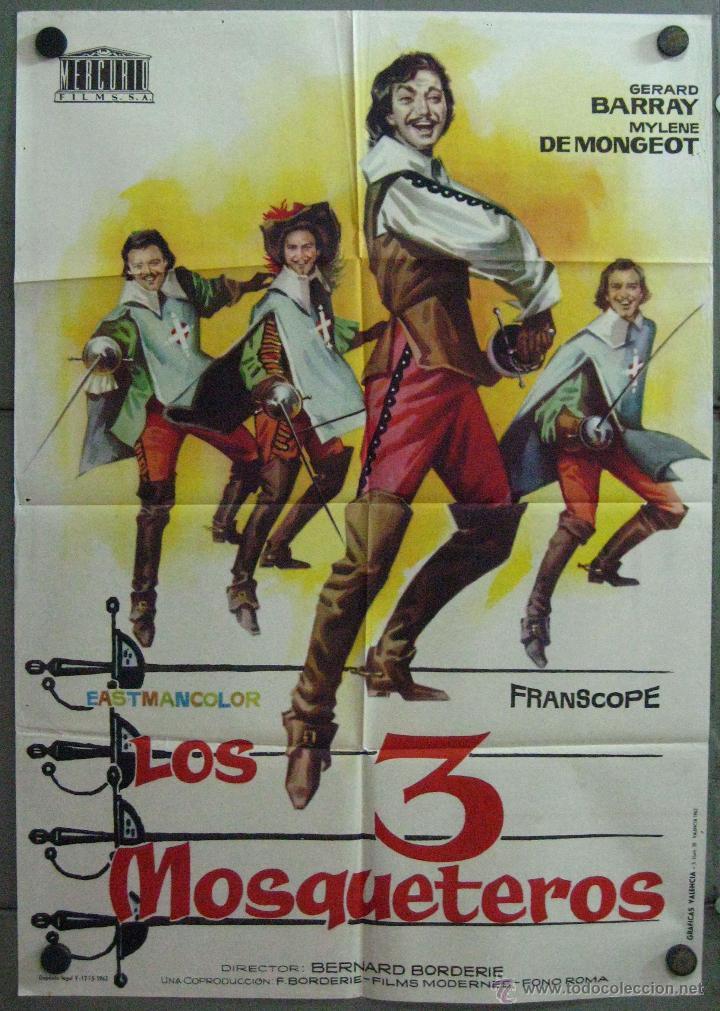 VU00 LOS TRES MOSQUETEROS GERARD BARRAY MYLENE DEMONGEOT POSTER ORIGINAL 70X100 ESTRENO (Cine - Posters y Carteles - Aventura)