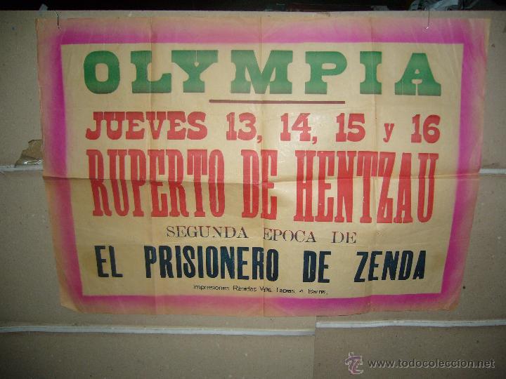 CINE OLYMPIA RUPERTO DE HENTZAU PRISIONERO DE ZENDA POSTER ORIGINAL YY (990) IGNORO LA CIUDAD (Cine- Posters y Carteles - Drama)
