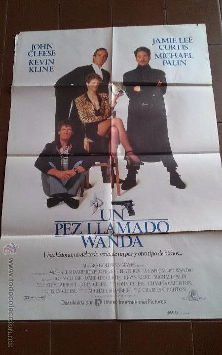 CARTEL DE CINE - MOVIE POSTER - UN PEZ LLAMADO WANDA - AÑO 1988 (Cine - Posters y Carteles - Comedia)