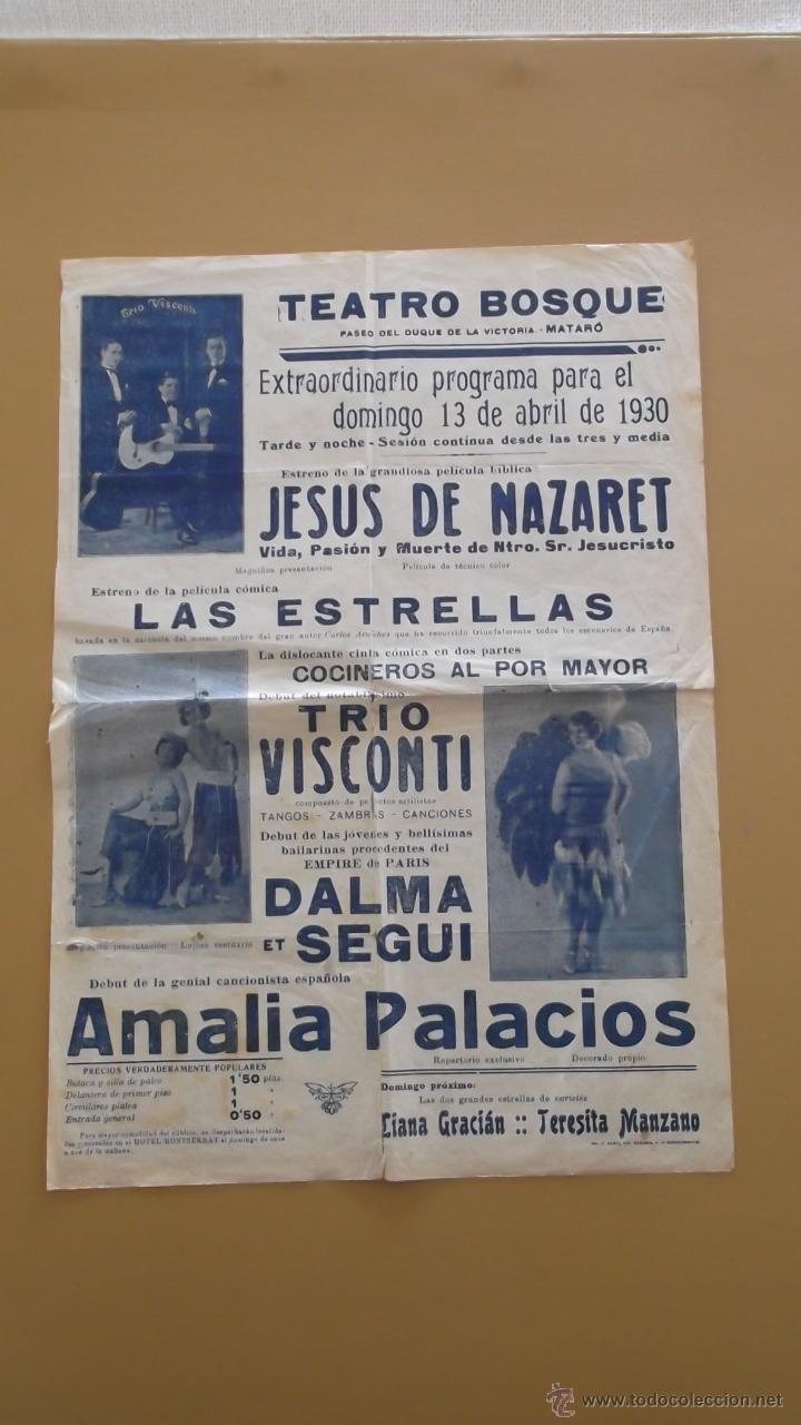 CARTEL POSTER LOCAL EXHIBICION CINE Y VARIEDADES AÑO 1930 MATARO BARCELONA - ORIGINAL. (Cine - Posters y Carteles - Clasico Español)