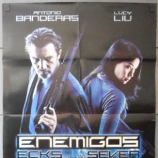 Cine: (13020)ENEMIGOS ,ANTONIO BANDERAS CARTEL DE CINE ORIGINAL 70X100 APROX,CONSERVACION,VER FOTO . Lote 48883599