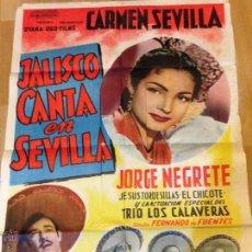 Cine: CARTEL O PÓSTER ORIGINAL ARGENTINO DE JALISCO CANTA EN SEVILLA. CARMEN SEVILLA Y JORGE NEGRETE. Lote 40600504