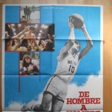 Cine: CARTEL CINE, DE HOMBRE A HOMBRE, BALONCESTO, DEPORTES, LAMONT JOHNSON, 1978, C479. Lote 48983886