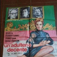 Cine: CARTEL DE CINE ESPAÑOL - MOVIE PÓSTER - UN ADULTERIO DECENTE - AÑO 1969 . Lote 49051812