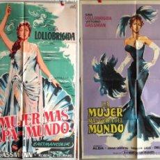 Cine: LA MUJER MAS GUAPA DEL MUNDO 2 POSTERS GINA LOLLOBRIGIDA. Lote 49195249