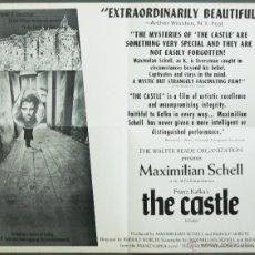 Cine: QP76 THE CASTLE MAXIMILIAN SCHELL FRANZ KAFKA POSTER ORIGINAL AMERICANO 55X70. Lote 115630822