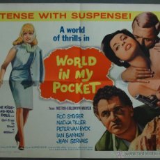 Cine: WA74 WORLD IN MY POCKET ROD STEIGER NAJDA TILLER POSTER ORIGINAL AMERICANO 55X70 LITOGRAFIA. Lote 49579560