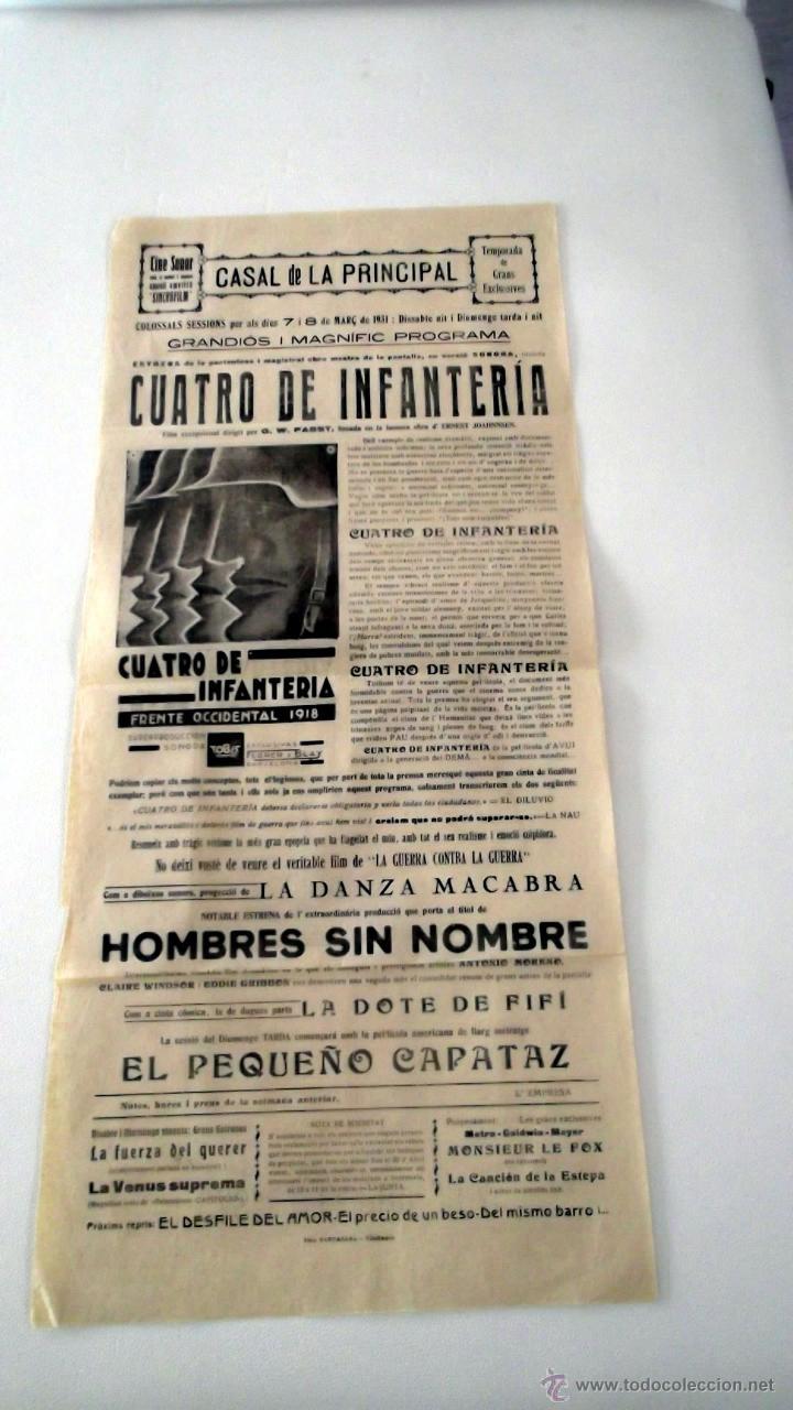CUARTO DE INFANTERIA 1930 WESTFRONT 1918 G.- GUION LADISLAO VAJDA CARTEL CINE ORIGINAL TEXT CATALÀ (Cine - Posters y Carteles - Bélicas)