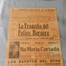 Cine: LA TRAGEDIA DELFOLIES BERGERE 1925 GASTON ROUDES FRANCE DHELIA CONSTANT REMY CINE MUDO CARTEL LOCAL. Lote 49875903
