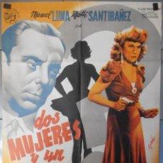 Cine: (13485) DOS MUJERES Y UN ROSTRO,MANUEL LUNA,MATTI SANTIBAÑEZ,CARTEL DE CINE ORIGINAL 70X100 APROX,CO. Lote 50032312