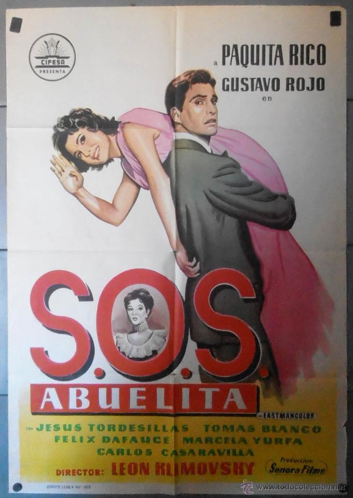 (13585) SOS ABUELITA,PAQUITA RICO,GUSTAVO ROJO,CARTEL DE CINE ORIGINAL 70X100 APROX,CONSERVACION,VER (Cine - Posters y Carteles - Clasico Español)
