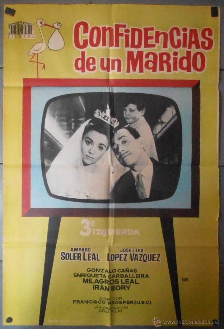 (13722) CONFIDENCIAS DE UN MARIDO,AMPARO SOLER LEAL,JOSE LUIS LOPEZ VAZQUEZ,JANO,CARTEL DE CINE ORIG (Cine - Posters y Carteles - Clasico Español)