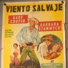 Cine: (13799) VIENTO SALVAJE,GARY COOPER,BARBARA STANWYCK,ANTHONY QUINN,CARTEL DE CINE ORIGINAL 70X100 APR. Lote 50274167