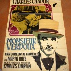 Cine: MONSIEUR VERDOUX. CHARLES CHAPLIN. POSTER ORIGINAL DEL 1977. Lote 50418447
