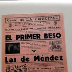Cine: EL PRIMER BESO 1929 ... PROGRAMA CINE MUDO CARTEL PASQUIN DOBLE ORIGINAL. Lote 50454672