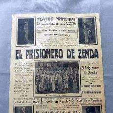 Cine: EL PRISIONERO DE ZENDA 1924 - 1925 ... PROGRAMA CINE MUDO CARTEL PASQUIN DOBLE ORIGINAL. Lote 50454715