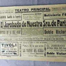 Cine: EL JOROBADO DE NUESTRA SEÑORA DE PARIS 1923 PROGRAMA CARTEL PASQUIN DOBLE CINE MUDO ORIGINAL. Lote 50463298