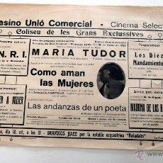 Cine: MARIA TUDOR 1925 PROGRAMA CARTEL PASQUIN DOBLE CINE MUDO ORIGINAL . Lote 50463301
