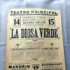 Cine: LA DIOSA VERDE 1923 THE GREEN GODDESS GEORGE ARLISS PROGRAMA CARTEL DOBLE CINE MUDO ORIGINAL . Lote 50463425