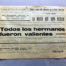 Cine: TODOS LOS HERMANOS FUERON VALIENTES 1931 PROGRAMA CARTEL DOBLE ORIGINAL LON CHANEY . Lote 50463466