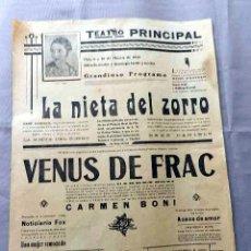 Cine: LA VENUS DE FRAC CARMEN BONI 1927 .... PROGRAMA CARTEL DOBLE CINE MUDO ORIGINAL . Lote 50463488