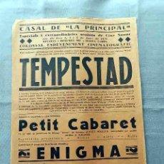 Cine: TEMPESTAD 1931 ... PETIT CABARET PROGRAMA CARTEL DOBLE LOCAL ORIGINAL VILAFRANCA PENEDES . Lote 50463504